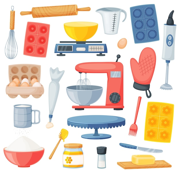 Cartoon cooking and baking ingredients, kitchen utensils. flour, eggs, honey, salt. kitchenware and desserts bakery ingredient vector set. isolated supplies and tools for food cooking