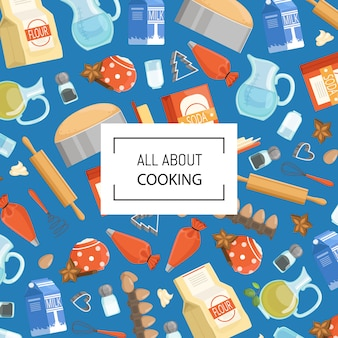 Cartoon cooking ingridients or groceries with place for text. kitchen banner poster with ingredient