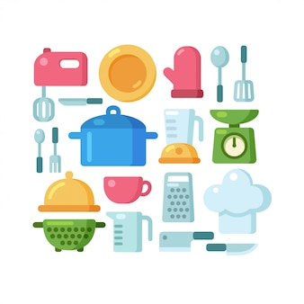 Cartoon cooking utensils illustration set.