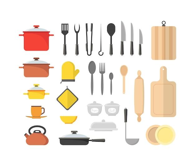 家庭やレストランのフラットデザインスタイルの漫画調理器具セットキッチン用品。図