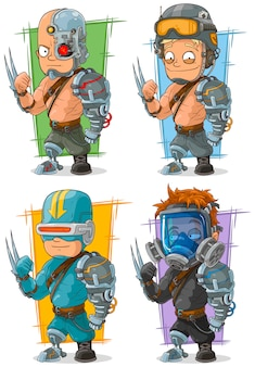 Cartoon cool cyborg soldier character