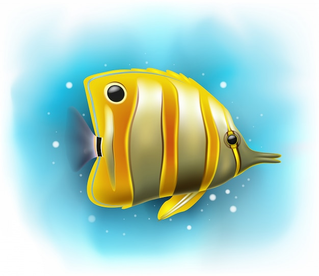 Cartoon copper banded butterfly fish