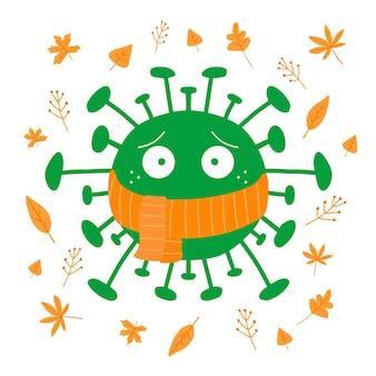 Мультфильм бактерии коронавируса в оранжевом шарфе с осенними листьями изолированного на белом фоне