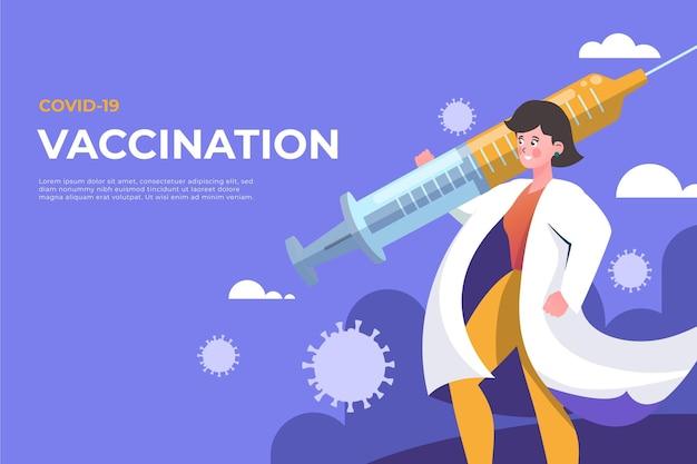 Мультяшный фон вакцины против коронавируса