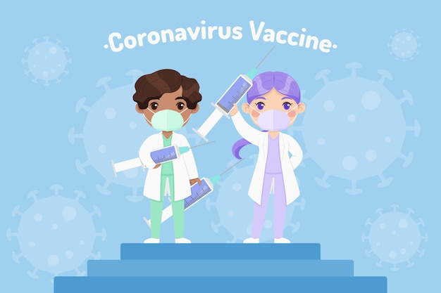 Cartoon coronavirus vaccine background