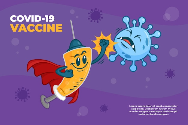 Cartoon coronavirus vaccine background