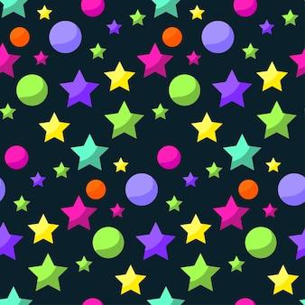 디자인에 사용하기 위해 열린 공간에 밝은 행성과 별이 있는 만화 우주 원활한 패턴 배경