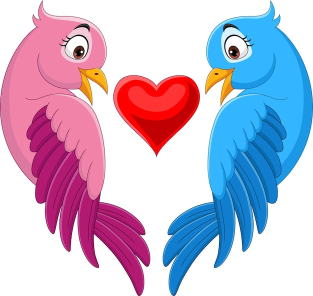 Cartoon couple of bird in pink and blue with heart shape
