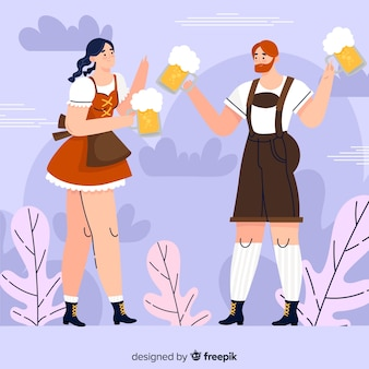 Cartoon couple celebrating oktoberfest