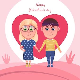 バレンタインデーを祝う漫画のカップル
