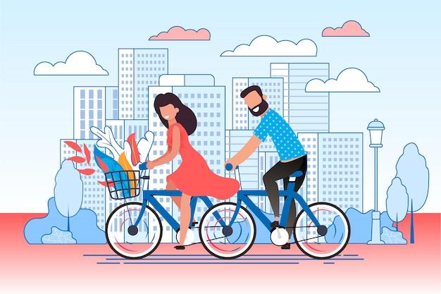 Cartoon couple cycling on city street.