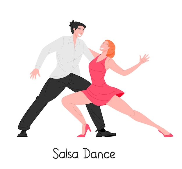 Cartoon couple dancing salsa together isolated on white