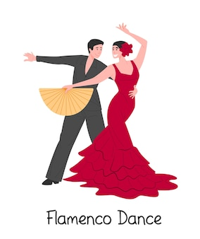 Cartoon couple dancing spanish flamenco