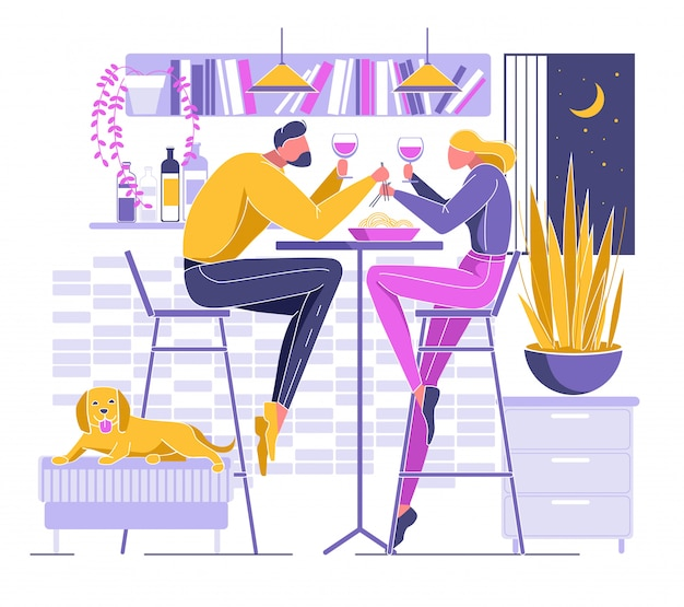 Cartoon couple dinner at home drink wine eat food