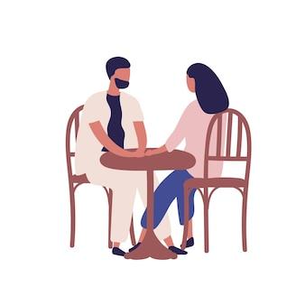 거리 카페 벡터 평면 삽화에서 낭만적인 데이트를 하는 만화 커플. 다채로운 남자와 여자는 흰색 절연 식당에서 테이블에 앉아. 매혹된 사람들은 레스토랑에서 이야기합니다.