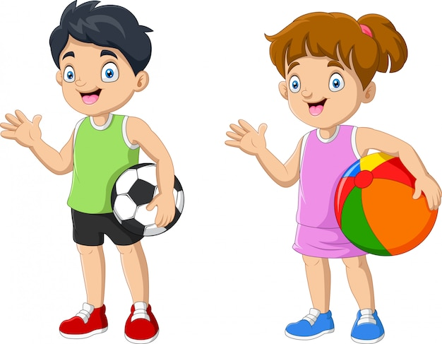 Cartoon couple kid holding ball
