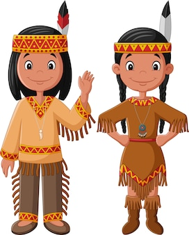 Cartoon couple native indian american
