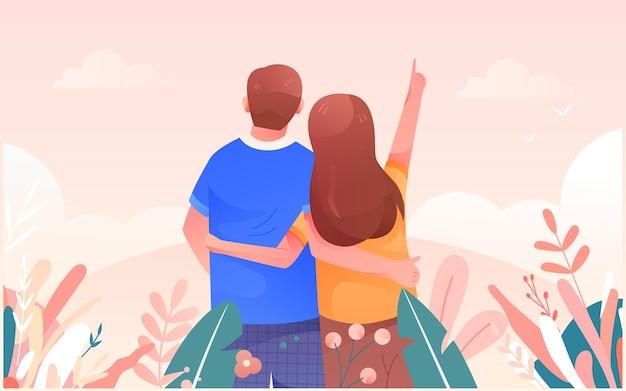 Cartoon couple outing travel mountain climbing scenery travel insurance vector illustration