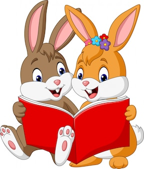 Cartoon couple of rabbits reading a book