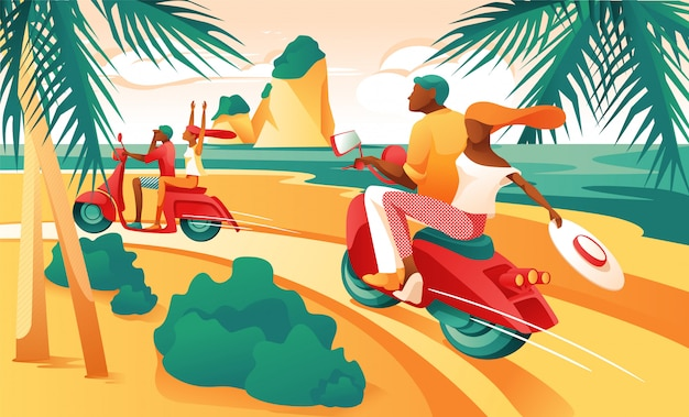Cartoon couple ride motorcycle on ocean shore