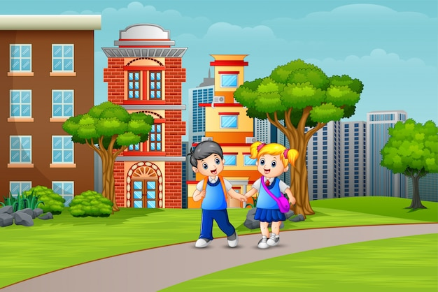 Cartoon couple school children walking on the road