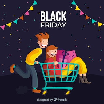 Cartoon couple shopping cart black friday background
