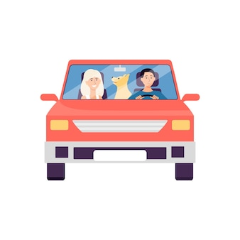 Cartoon couple sitting in red car with pet dog - front view of man, woman and animal on road trip isolated on white background.