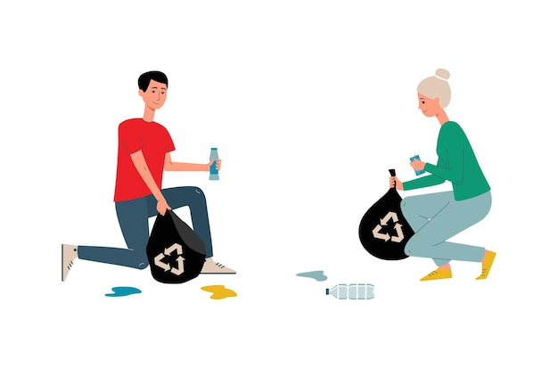 Cartoon couple with recycling trash bags cleaning litter garbage from the ground and smiling