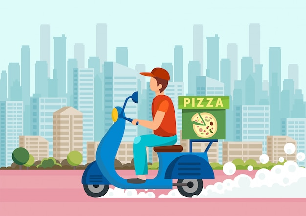 Cartoon courier carries pizza on scooter against