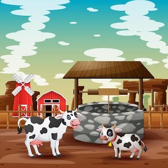 農場の背景を持つ漫画の牛と子牛