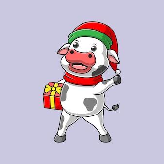 プレゼントを運ぶ漫画の牛