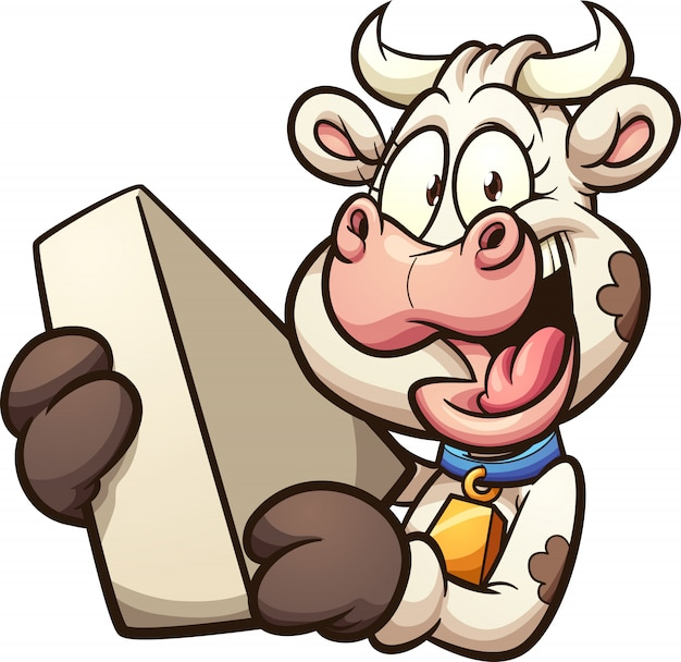 Cartoon cow holding a piece of cheese
