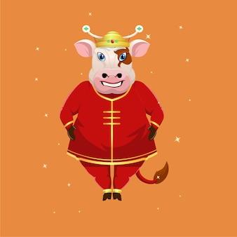 伝統的な中国の服を着た漫画の牛のマスコット
