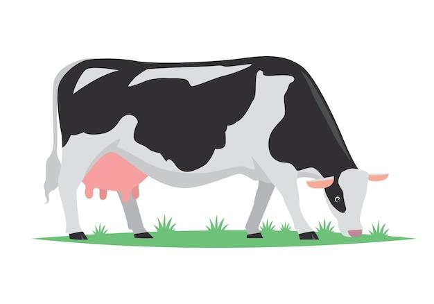 Cartoon cow milk, vector