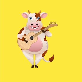 アコースティックギターを弾く漫画の牛