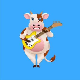エレクトリックギターを弾く漫画の牛