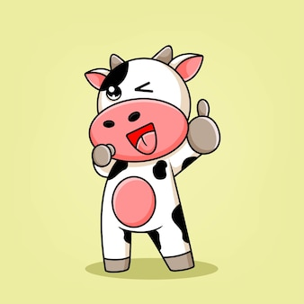 Cartoon cow pose raises one thumb up illustration