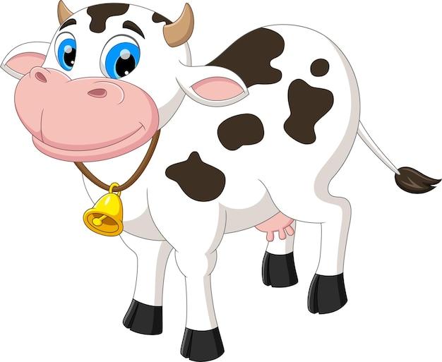 Мультфильм корова позирует и улыбается