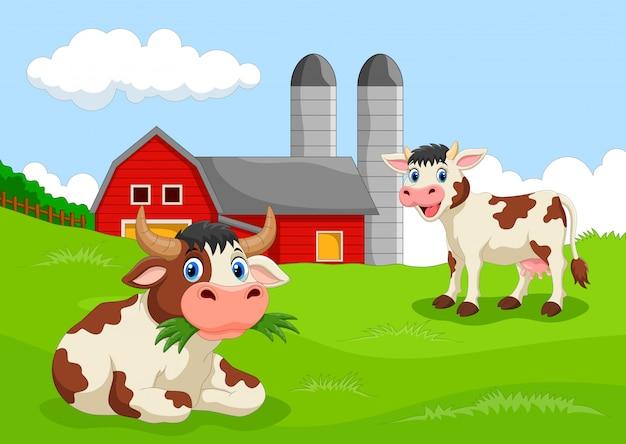 Cartoon cow with farm background