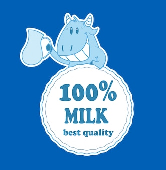 Cartoon cow with milk badge