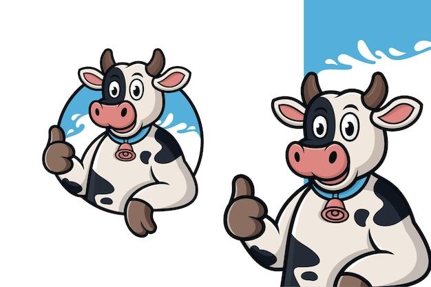親指を立てるロゴイラストと漫画の牛