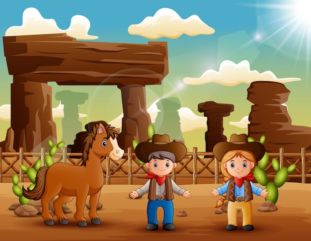 漫画のカウボーイと砂漠の馬とカウガール