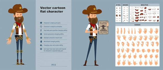 Мультяшный ковбой или шериф персонаж большой векторный набор