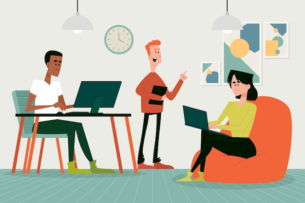 Cartoon coworking space illustration with men and woman