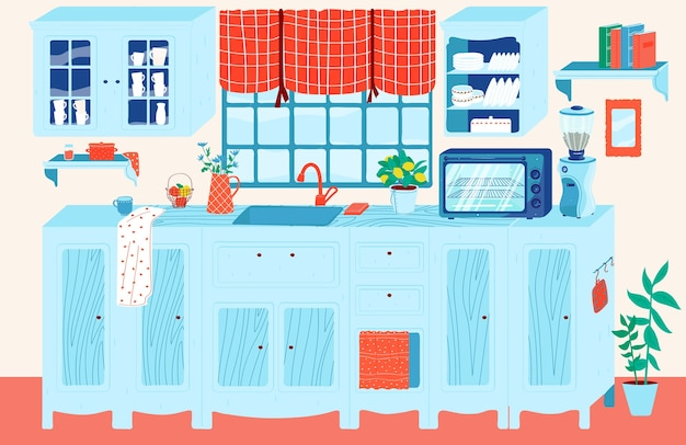 Cartoon cozy kitchen room in house apartment