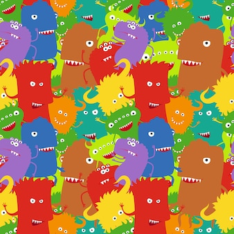 Cartoon crazy moster seamless pattern