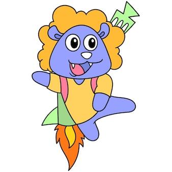 Мультяшное существо летит с использованием ракетной установки, персонаж милый рисунок каракули. векторная иллюстрация