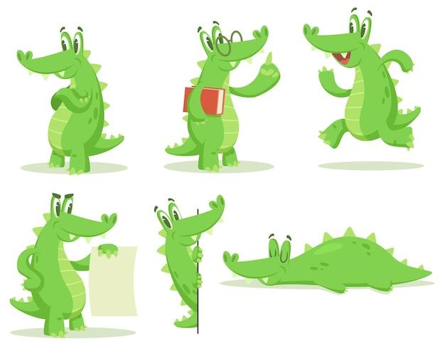 Cartoon crocodile character illustrations set