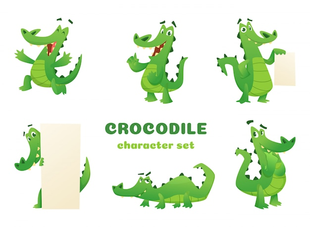 Cartoon crocodile characters, alligator wild amphibian reptile green big animals mascots setin various poses