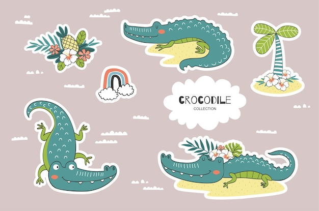Cartoon crocodile doodles collection.
